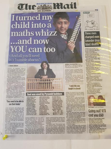 article published in the scottish mail on sunday about turning children into math wizz